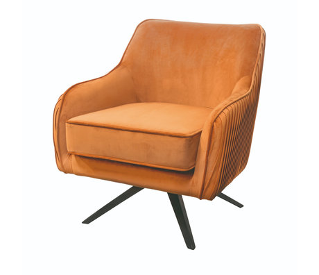 Riverdale Fauteuil Maddy polyester marron orange 82x74x86cm