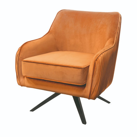Riverdale Fauteuil Maddy oranje bruin polyester 82x74x86cm