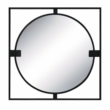 Riverdale Spiegel Rocco zwart metaal 2x70x70cm