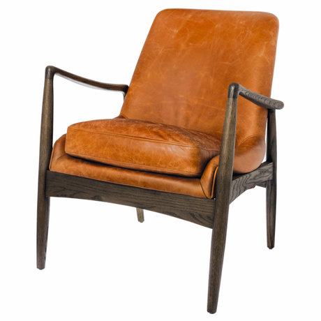 Riverdale Fauteuil Elle bruin oranje leer 65x67x85cm