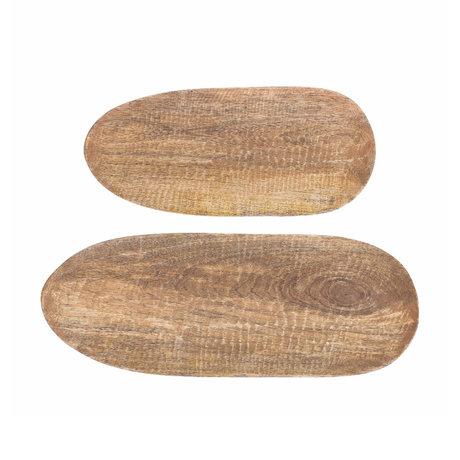 Riverdale Dienblad Sam set van 2 naturel bruin hout 48x18x1,5cm