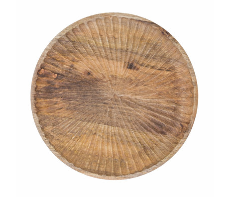 Riverdale Tray Sam natural brown wood Ø30x3cm