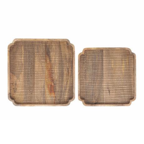 Riverdale Dienblad Sam set van 2 naturel bruin hout 40x40x5cm