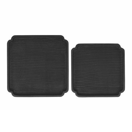 Riverdale Dienblad Sam set van 2 zwart hout 40x40x5cm