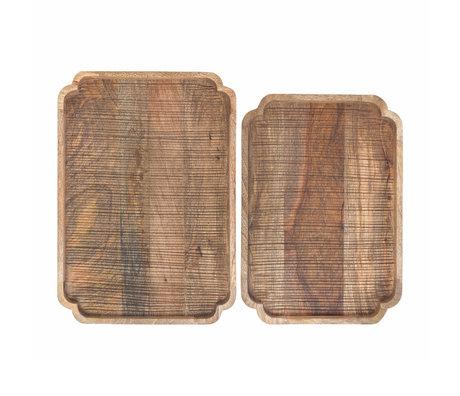 Riverdale Dienblad Sam set van 2 naturel bruin hout 48x34x5cm