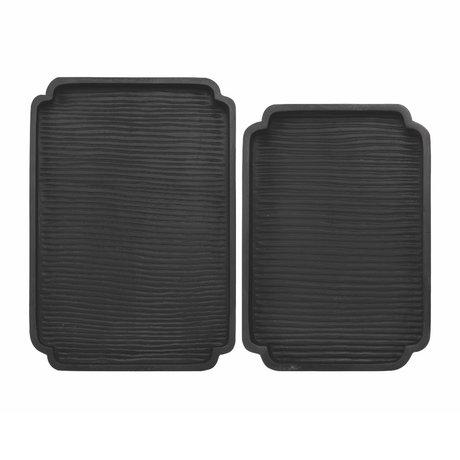 Riverdale Dienblad Sam set van 2 zwart hout 48x34x5cm