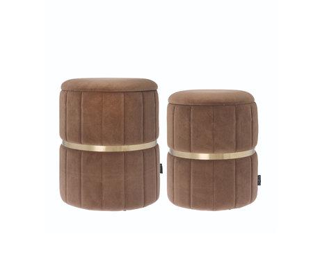 Riverdale Poef Elena set van 2 beige bruin polyester 44,4x44,4x38cm
