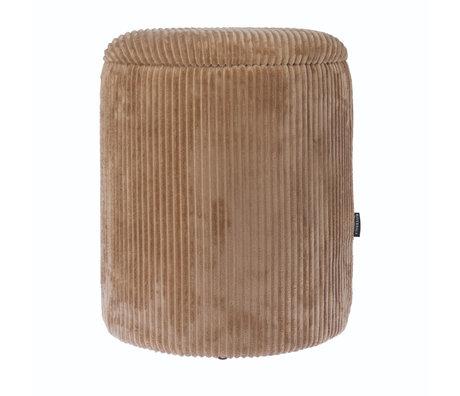 Riverdale Poef Luka beige bruin polyester 35,5x35,5x45cm