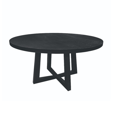 Riverdale Eettafel Scott zwart hout 150x150x78cm