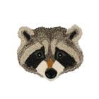 Doing Goods Vloerkleed Rocky Racoon Head grijs wol katoen 35x31cm