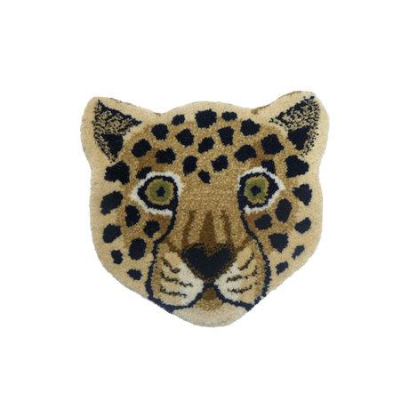 Doing Goods Vloerkleed Loony Leopard Head bruin wol katoen 33x35cm