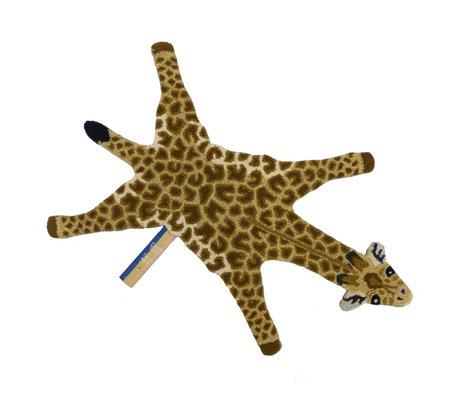 Doing Goods Vloerkleed Gimpy Giraffe small bruin wol katoen 68x118cm