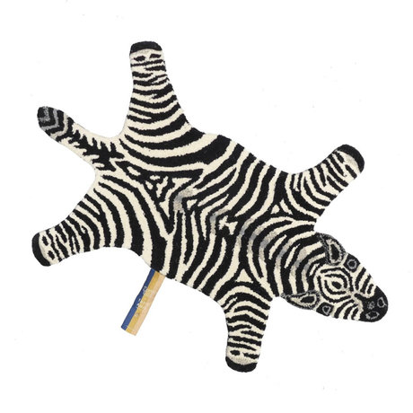 Doing Goods Vloerkleed Chubby Zebra small zwart wit wol katoen 62x100cm