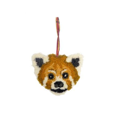 Doing Goods Hanger Perky Panda bruin wol katoen 20x23cm