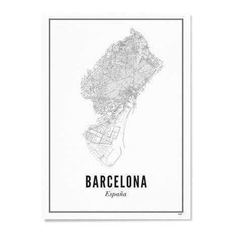Wijck Poster Barcelona zwart wit papier 50x70cm