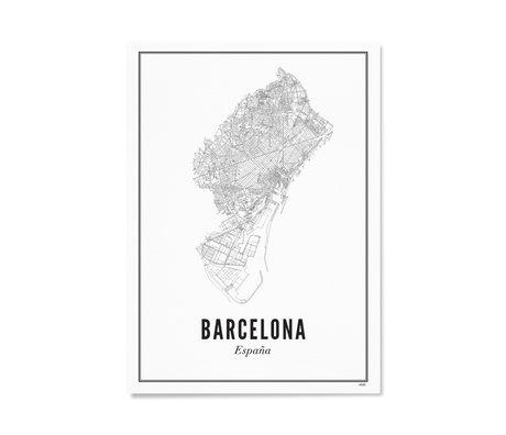 Wijck Poster Barcelona zwart wit papier 30x40cm