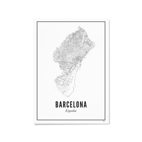 Wijck Poster Barcelona zwart wit papier 21x30cm