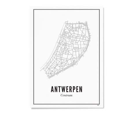 Wijck Poster Antwerpen zwart wit papier 50x70cm