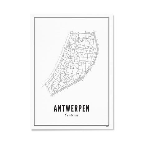 Wijck Poster Antwerpen zwart wit papier 30x40cm