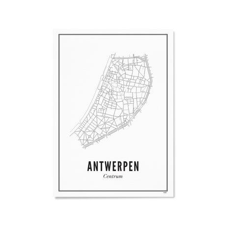 Wijck Poster Antwerpen zwart wit papier 21x30cm
