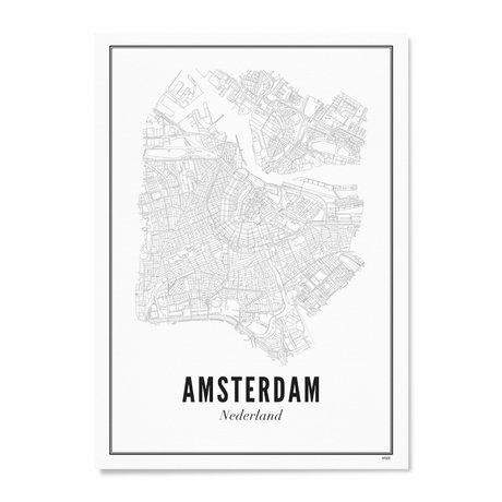 Wijck Poster Amsterdam zwart wit papier 50x70cm