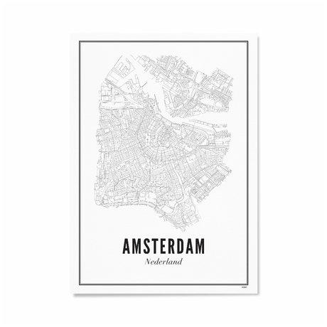 Wijck Poster Amsterdam zwart wit papier 30x40cm