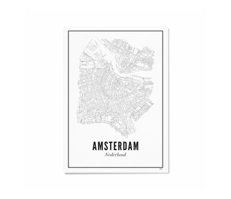 Wijck Poster Amsterdam zwart wit papier 21x30cm