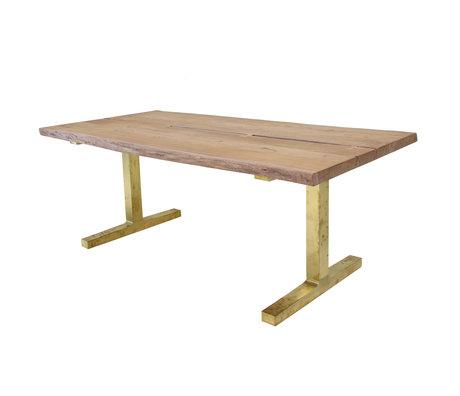HK-living Esstisch braun Teak Holz Messing Beine 200x90x76cm