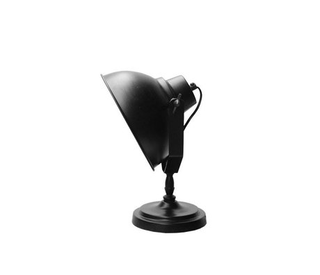 LEF collections Lampe de table Urban matt black metal Ø20cm de bois