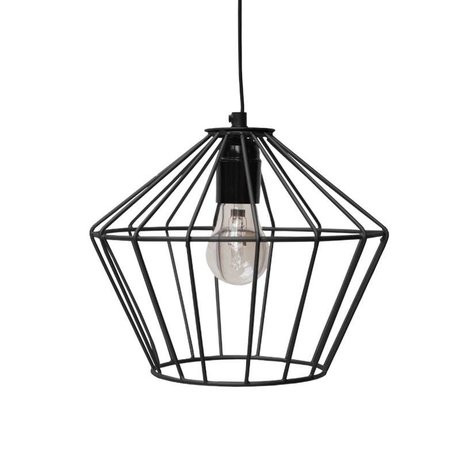 LEF collections Wire hanging lamp black metal 21x21x25cm