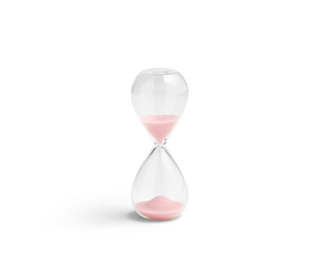 HAY Zandloper Time 3min lichtroze transparant glas ¯3,5x9cm