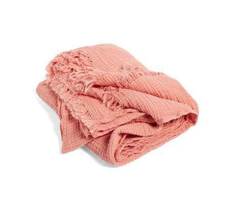 HAY Plaid Crinkle roze katoen 210x150cm