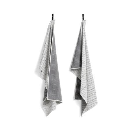 HAY Theedoek Dash Grid grijs katoen set van 2 75x52cm