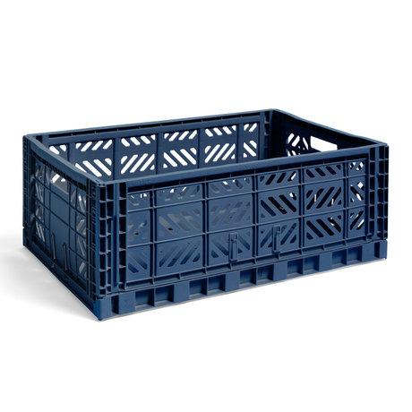 HAY Krat Colour Crate L donkerblauw kunststof 60x40x22cm