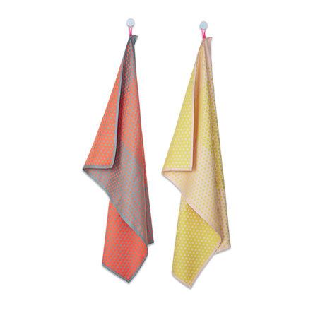 HAY Theedoek Layer Dots oranje geel textiel set van 2 75x52cm