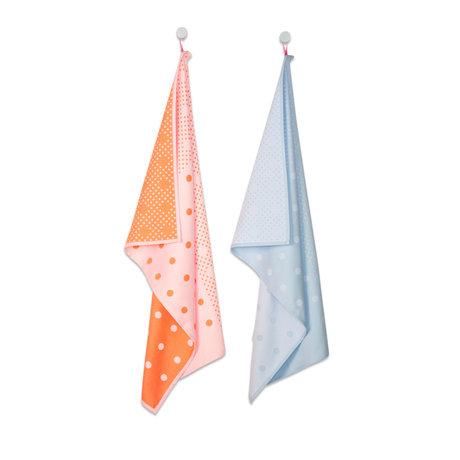 HAY Theedoek Big Dots oranje lichtblauw textiel set van 2 75x52cm