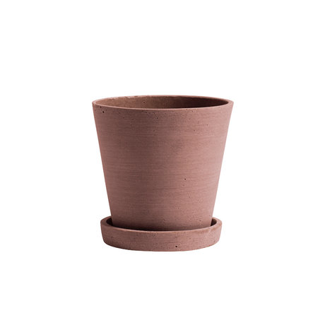HAY Bloempot met schotel Flowerpot M terracotta steen ¯14x13,5cm