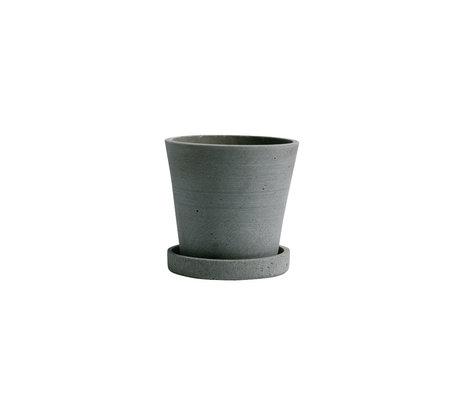 HAY Bloempot met schotel Flowerpot S groen steen Ø11x10,5cm