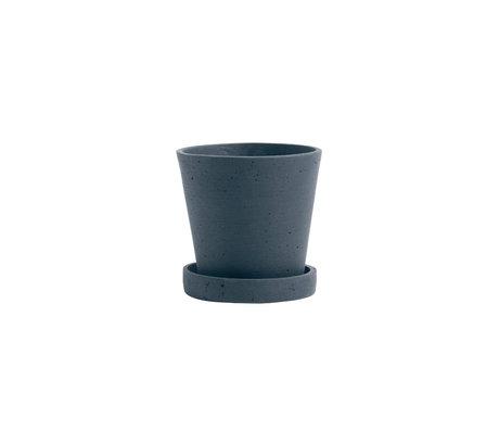 HAY Bloempot met schotel Flowerpot S donkerblauw steen Ø11x10,5cm