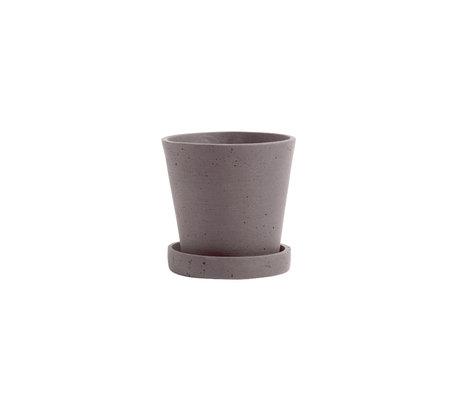 HAY Bloempot met schotel Flowerpot S grijs steen Ø11x10,5cm