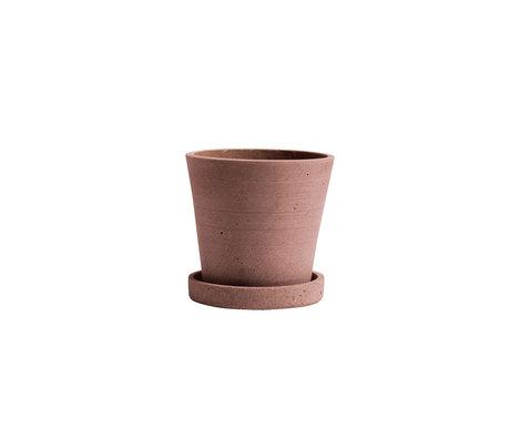 HAY Bloempot met schotel Flowerpot S terracotta steen ¯11x10,5cm