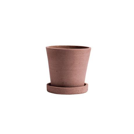 HAY Bloempot met schotel Flowerpot S terracotta steen Ø11x10,5cm