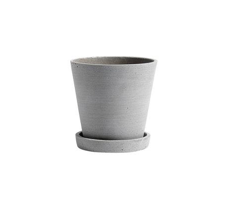HAY Flowerpot with saucer Flowerpot M gray stone Ø14x13.5cm