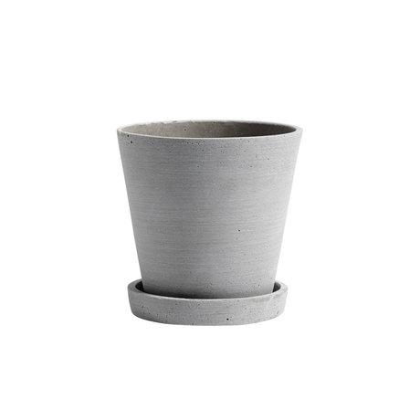 HAY Bloempot met schotel Flowerpot M grijs steen Ø14x13,5cm