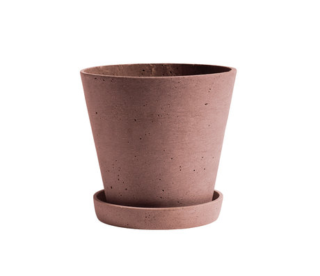 HAY Bloempot met schotel Flowerpot L terracotta steen ¯17,5x16,5cm
