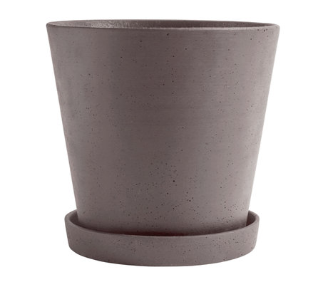 HAY Flowerpot with saucer Flowerpot XXL gray stone Ø26x24,5cm