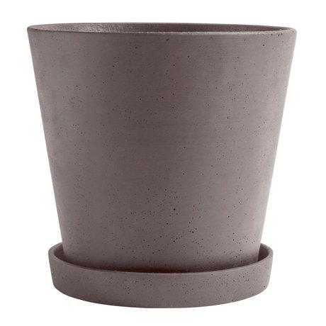 HAY Bloempot met schotel Flowerpot XXL grijs steen Ø26x24,5cm
