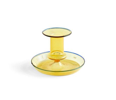 HAY Kandelaar Flare geel glas ¯11x7,5cm