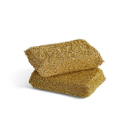 HAY Spons Lurex goud schuim set van 2 11,5x8x3cm