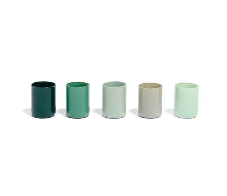 HAY Waxinelichthouder Spot Votive groen glas set van 5 ¯5x6,5cm
